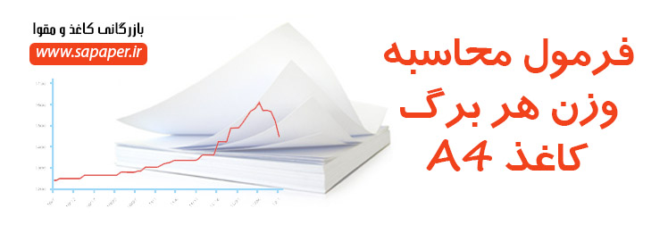 فرمول محاسبه وزن هر برگ کاغذ A4